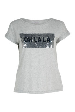 T-shirt sequins réversibles, Gris Chine
