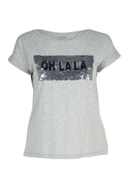 T-shirt sequins réversibles - Gris Chine