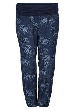 Pantalon fluide imprimé fleurs, Marine