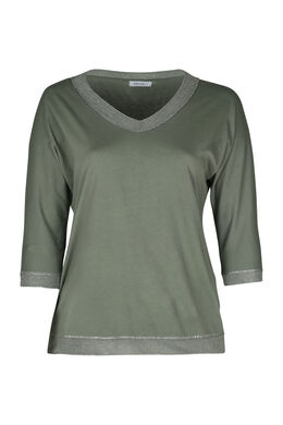 T-shirt encolure bord lurex, Kaki