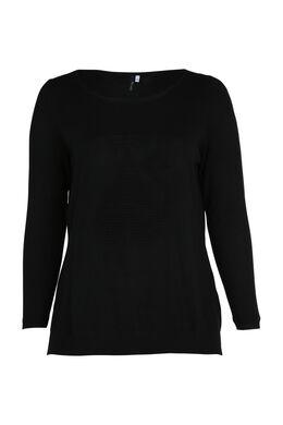 Pull uni en tricot avec chat, Noir