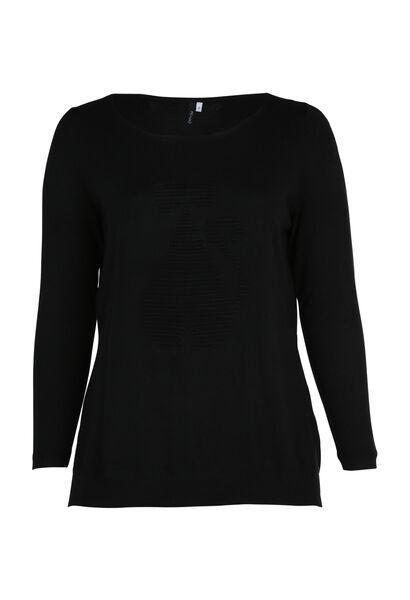 Pull uni en tricot avec chat - Noir