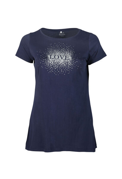 Long t-shirt imprimé love - Marine