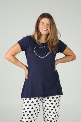 Long t-shirt imprimé cœur à paillettes, Marine
