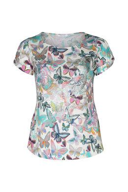 T-shirt imprimé papillons et strass, multicolor