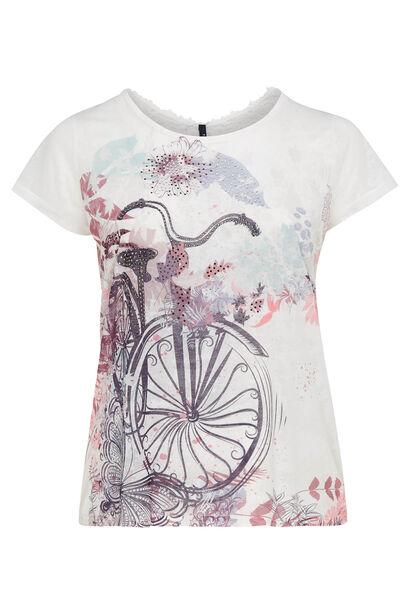 T-shirt imprimé vélo - Ecru