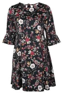 Robe imprimée de fleurs, Noir