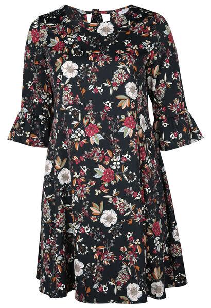 Robe imprimée de fleurs - Noir