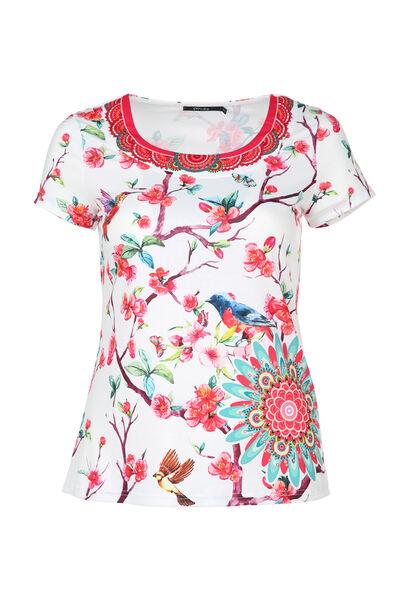 T-shirt imprimé fleuri et oiseaux - multicolor