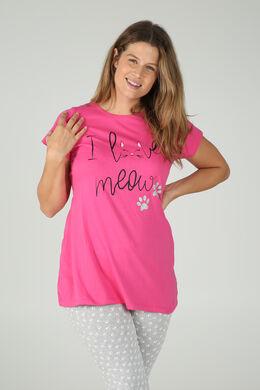 Long t-shirt imprimé chat, Fushia