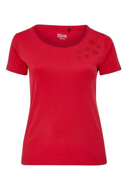 T-shirt en coton biologique brodé - Cerise