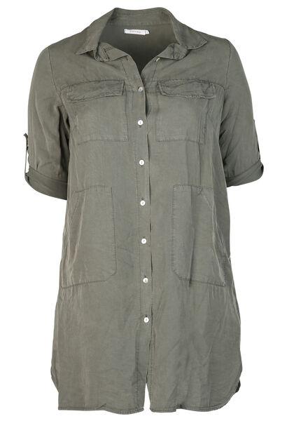 Robe chemise en lyocell - Kaki