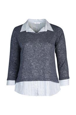 Pull chemise effet 2 en 1, Indigo