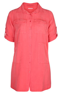Robe chemise en lyocel uni, Corail