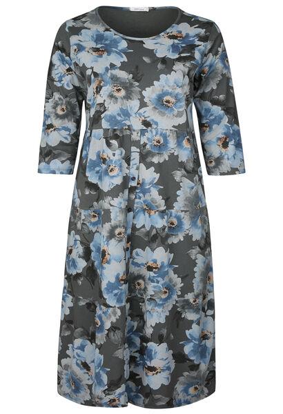 Robe longue en coton imprimé fleuri - Anthracite