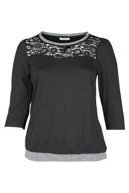 T-shirt imprimé de pois et dentelle, Noir