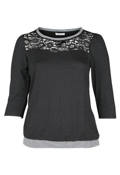 T-shirt imprimé de pois et dentelle - Noir
