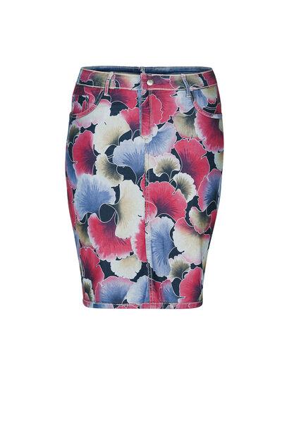 Jupe en jeans réversible imprimé fleuri - Denim