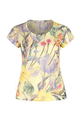T-shirt imprimé tropical + strass, Jaune