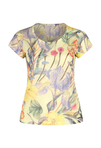 T-shirt imprimé tropical + strass - Jaune