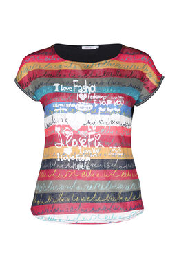 T-shirt en lin imprimé, multicolor