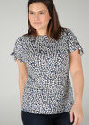 T-shirt imprimé de fleurs effet gomme, Indigo