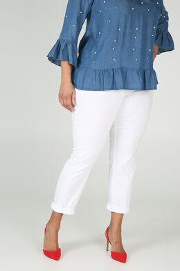 Pantalon bengaline empiècement à la taille, Blanc