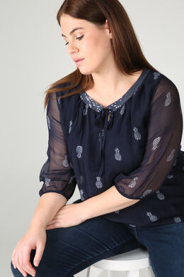 Blouse encolure sequins, Marine