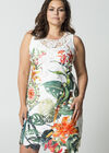 Robe dentelle imprimé tropical, multicolor