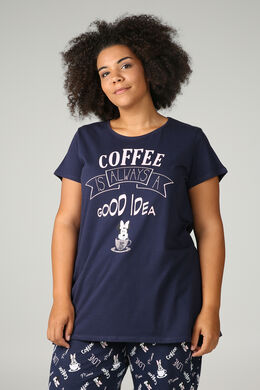 "T-shirt de pyjama  ""Coffee is always a good idea"", Marine"