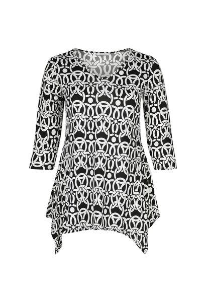 Tunique t-shirt imprimé gomme géométrique - Noir