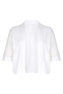 Cardigan coton avec de la dentelle, Blanc