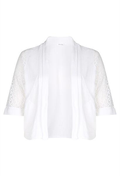 Cardigan coton avec de la dentelle - Blanc
