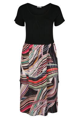 Robe longue imprimé graphique, multicolor