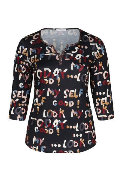 T-shirt maille imprimé lettres - multicolor