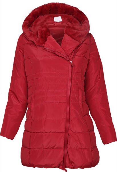 Doudoune longue zip de travers - Rouge