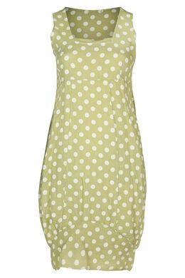 Robe mi-longue en lin imprimé pois, Vert Olive