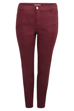 Pantalon coton stretch coupe slim détails boutons, Prune