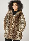Manteau en fausse fourrure imprimé léopard, Camel