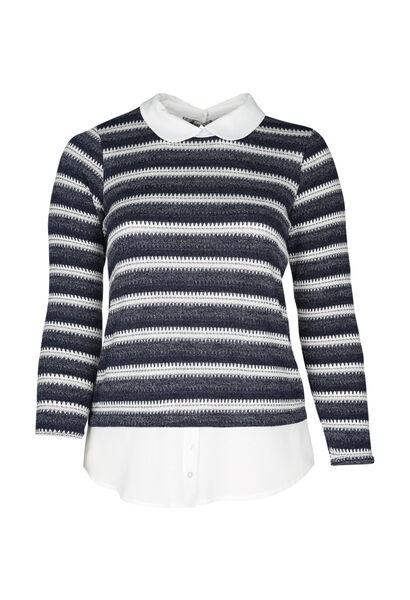 T-shirt maille rayée - Marine