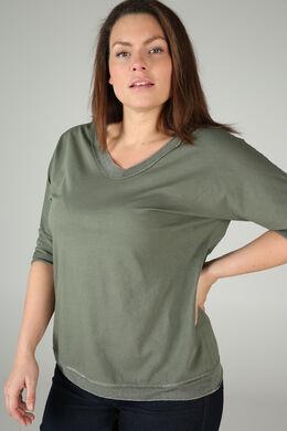 T-shirt encolure bord lurex, Kaki