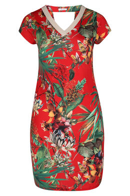 Robe maille froide imprimé tropical, Rouge