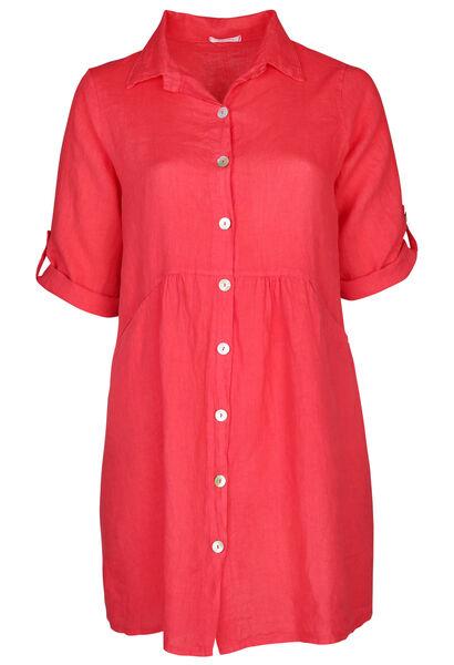 Robe chemise en lin - Corail