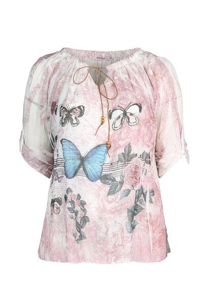 Blouse imprimé de papillons - Rose