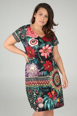 Robe imprimé fleurs avec strass, multicolor