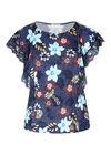 T-shirt imprimé fleurs et dentelle, Denim