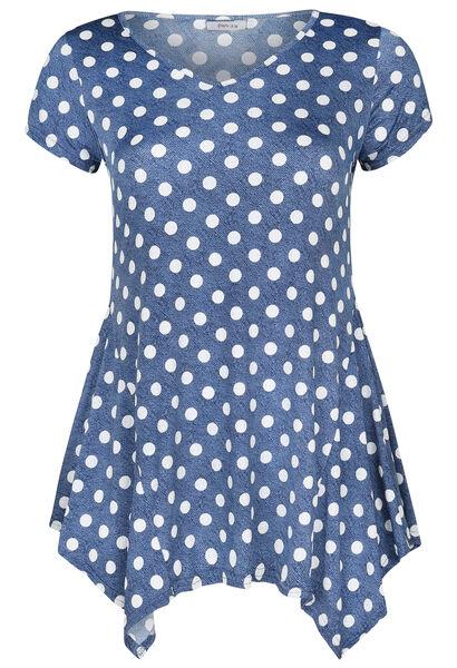 Tunique t-shirt maille froide imprimé pois - Denim