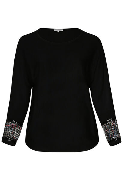 Pull ample manches fantaisies - Noir