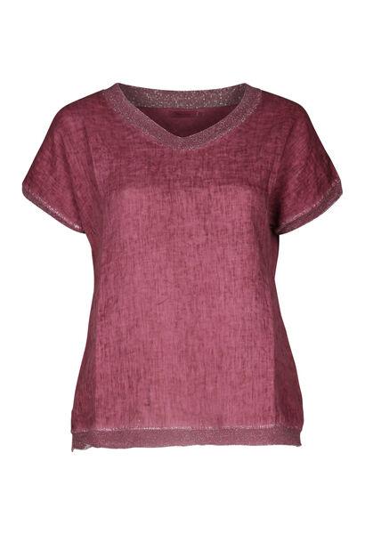 T-shirt devant lin dos en maille - Vieux rose