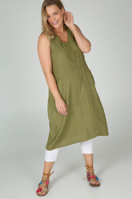 Robe mi-longue en lin, Vert Olive